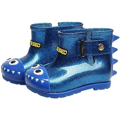 3741b48ed0d4 Boy Girl Wellies Rubber Rain Boots Kids Wellington Water Shoes Yellow Blue  Pink