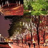 Luce Natale LED Pioggia Nevicata – VICTORSTAR 50CM 10 Tubi 600 LED Due Facce di Illuminazione Impermeabile, 3m Lunghi Fili Luci Pioggia di Meteore and Luci Nevicata per Matrimonio, Partito, Natale, Xmas, Paesaggio Albero Decorazione (Luce Bianca)