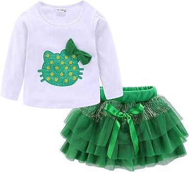 LittleSpring Tutu Outfits for Girls Summer T-Shirt and Tutu Skirt Set