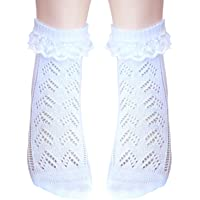 Girls Pointelle ankle socks with lace seamless toe for sensitive feet
