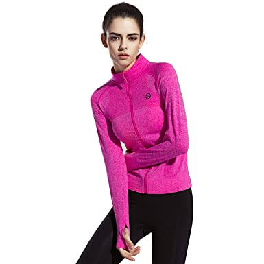0b0415668d Speedle Women's Workout and Yoga Zip Up Stretchy Jacket with Thumb Holes ...