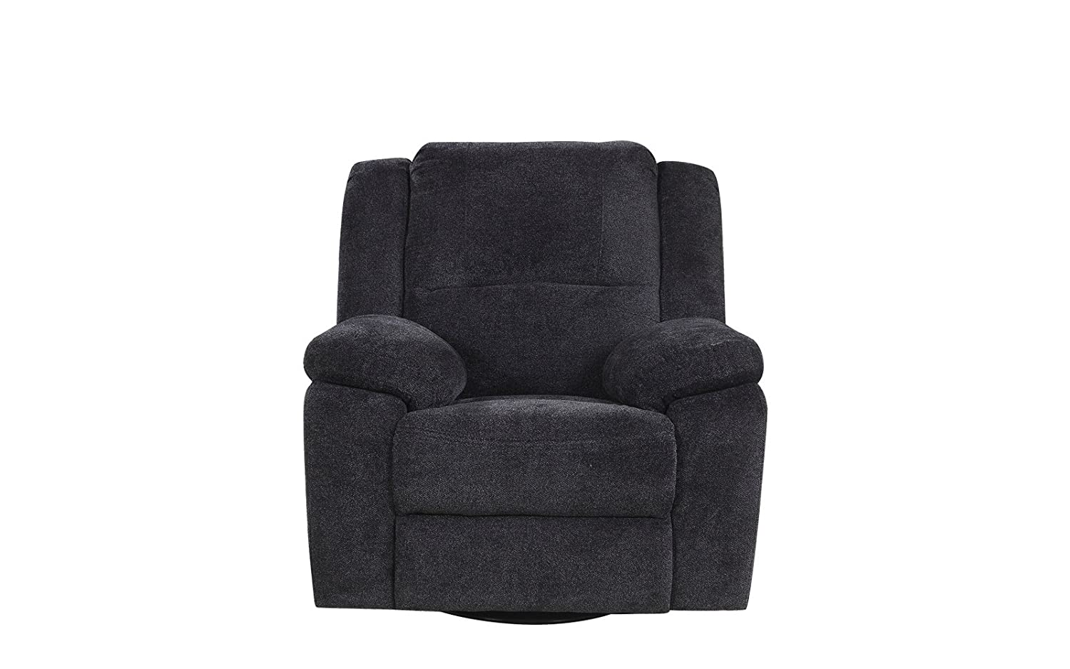 DIVANO ROMA FURNITURE Brush Microfiber Rocker and Swivel Recliner Living Room Chair (Dark Grey)
