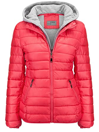 S West Damen Steppjacke Winter ÜBERGANGSJACKE Herbstjacke KURZ Hoodie Kapuze  Skijacke, Farbe Rosa f73e8f7b35