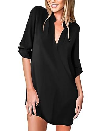 aa610da6c42 Tunique Femme Manches Longues Robe Chemise Col V Mousseline Top Blouse (L  (EU 40