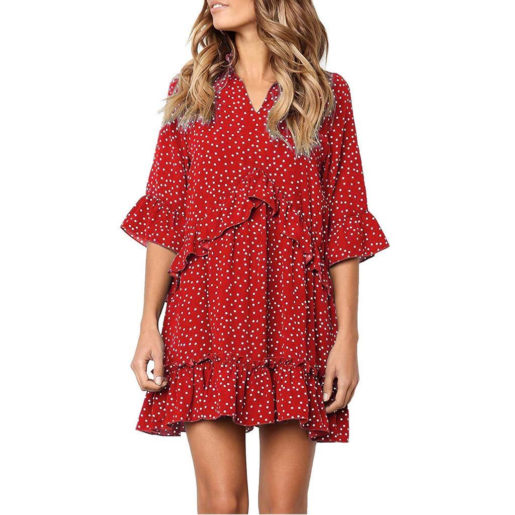 【MOHOLL】 Women's V Neck Ruffle Polka Dot Pocket Loose Swing Casual Short T-Shirt Dress Red
