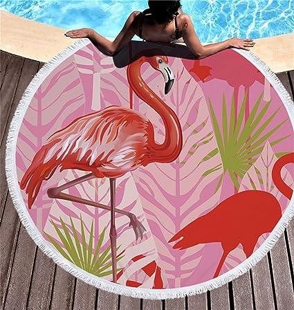 WYZQ Toalla de Playa con Flecos Redondos Grueso Swim Chal Alfombra Exterior Alfombra de Piso Playa