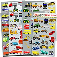 Crenstone Cars and Trucks Stickers Party Supplies Pack Toddler -- Over 160  Stickers (Cars, Fire Trucks, Construction, Buses and More!)
