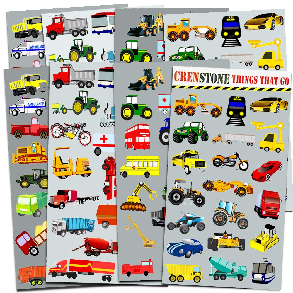 Crenstone Cars and Trucks Stickers Party Supplies Pack Toddler -- Over 160Stickers (Cars, Fire Trucks, Construction, Buses and More!)