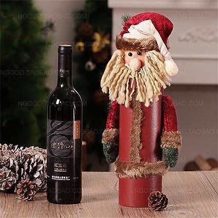 La personalidad creativa retro Navidad botellas de vino . El viejo muñeco de nieve decoraciones de