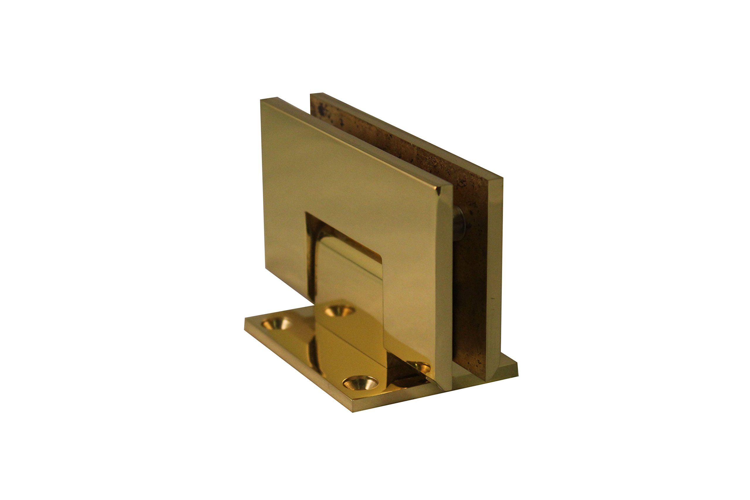 WBS 'Atlantic' Heavy Duty / Heavy Glass Shower Door Hinge Pair (Polished Brass) by Wardrobe and Bath Specialties