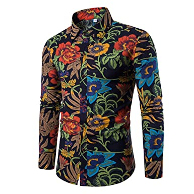 451705d14e6b Image Unavailable. Image not available for. Colour: Allthemen Mens Dress Shirts  Long Sleeve Funky Printed Linen Shirt ...