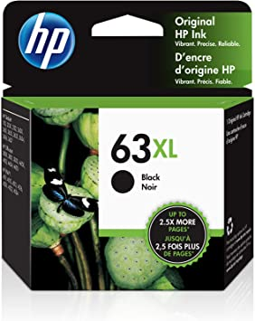 HP 63XL | Ink Cartridge | Black | Works with HP DeskJet 1112, 2100 Series, 3600 Series, HP ENVY 4500 Series, HP OfficeJet 3800 Series, 4600 Series, 5200 Series | F6U64AN