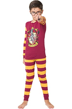 Harry Potter Big Boys Gryffindor House Crest Striped Cotton Costume Pajama Set, Multi,