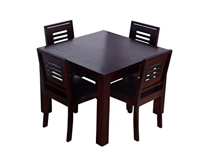 Ringabell Square Four Seater Solid Wood Dining Table Mahogany Finish