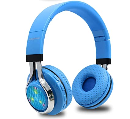 1ce73268ee0 Amazon.com: Glowing Stereo Casque Audio Bluetooth Headphone Wireless Big  Headset Sport Earphone Mic LED Light TF FM for PC Phone,Sky Blue: Home Audio  & ...