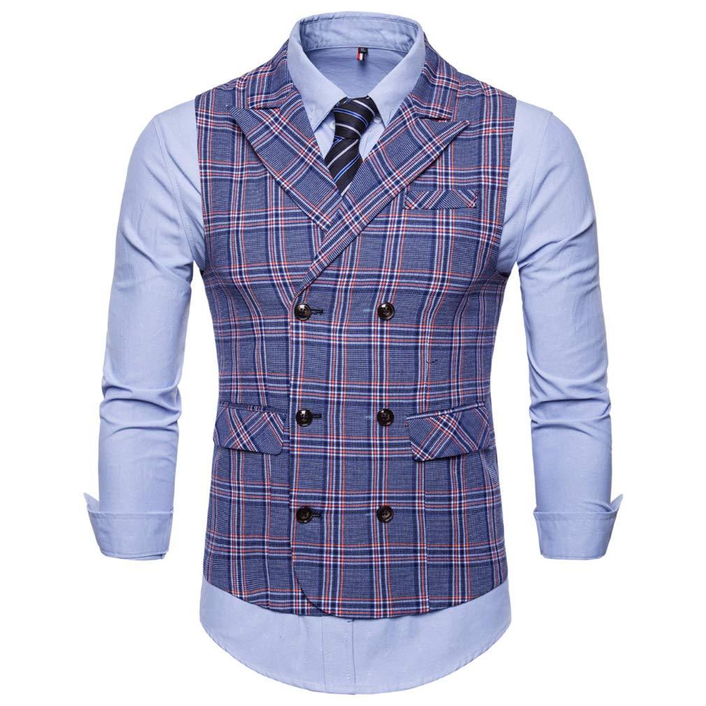 Mxssi Blue Plaid Stripe Waistcoat Man British Style Vest Gilet Formal Vest Wedding Man Vest Dress Casual Fit