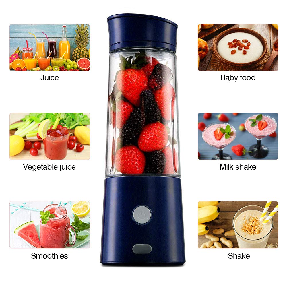 Portable Blender USB Rechargeable-TTLIFE Personal Blender for Shakes and Smoothies, Small Travel Blender Single Serve, Fruit Mixer Juice Cup with 5200mAh Rechargeable Battery for Baby Food,Travel Personal,Juice-Blue
