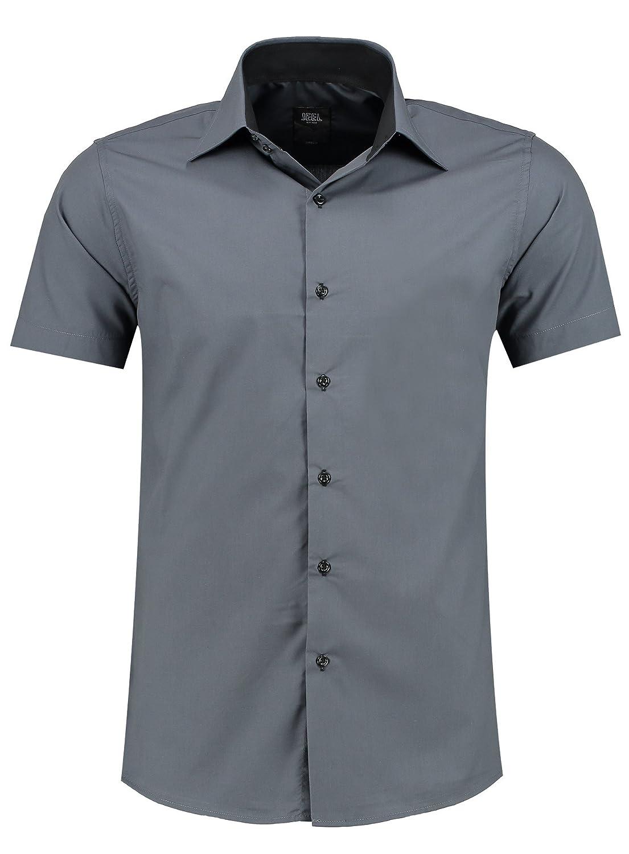 Jeel Herren-Hemd – Slim-Fit – Bügelleicht – Business, Hochzeit, Freizeit – Kurzarm-Hemd für Männer
