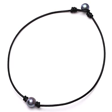aac68510b4ab7 One Black Cultured Pearl Choker Necklace on Genuine Leather Cord Handmade  Jewelry for Women by Aobei
