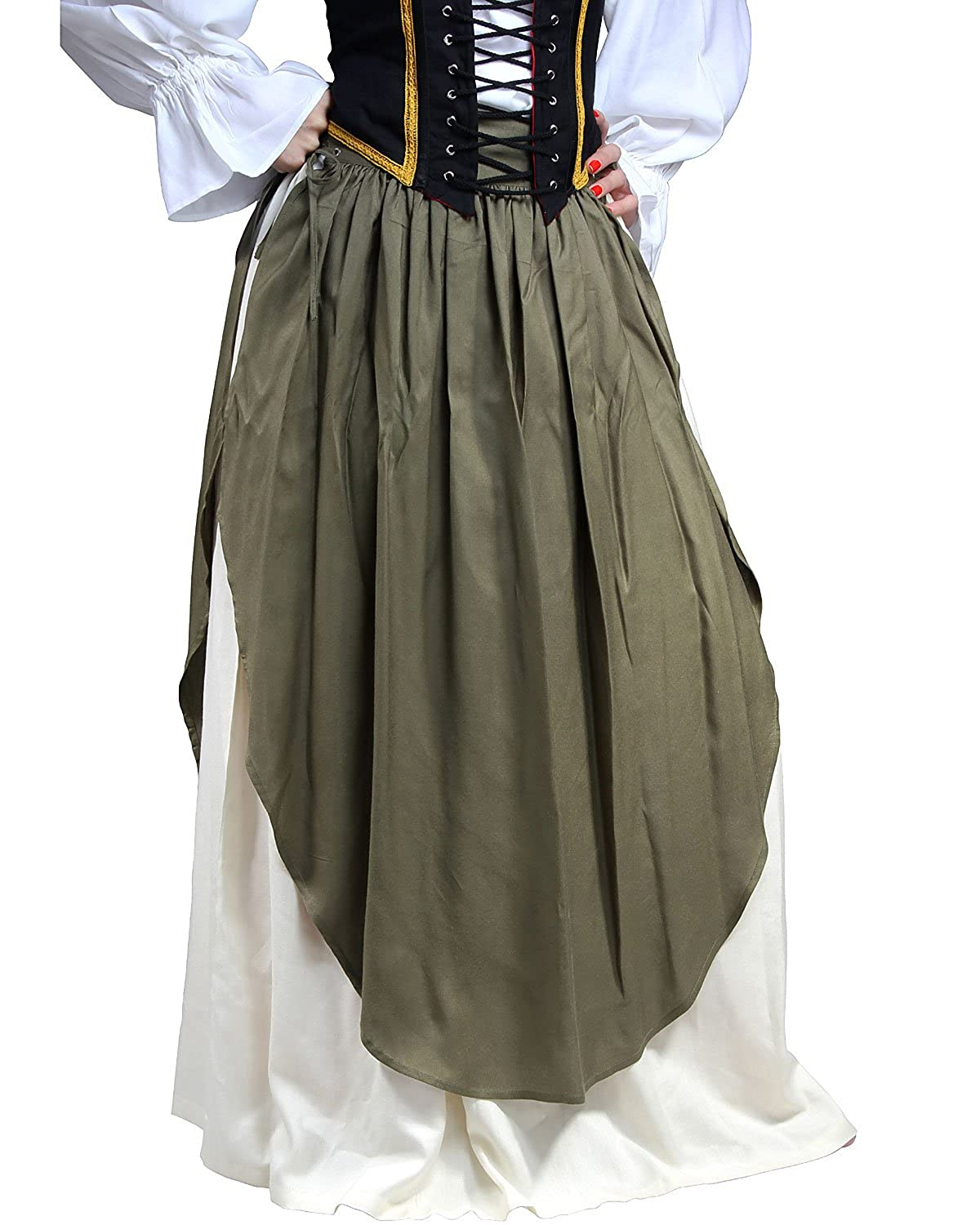 Renaissance Medieval Peasant Wench Layered Olive Green Apron Over White Skirt by ThePirateDressing - DeluxeAdultCostumes.com