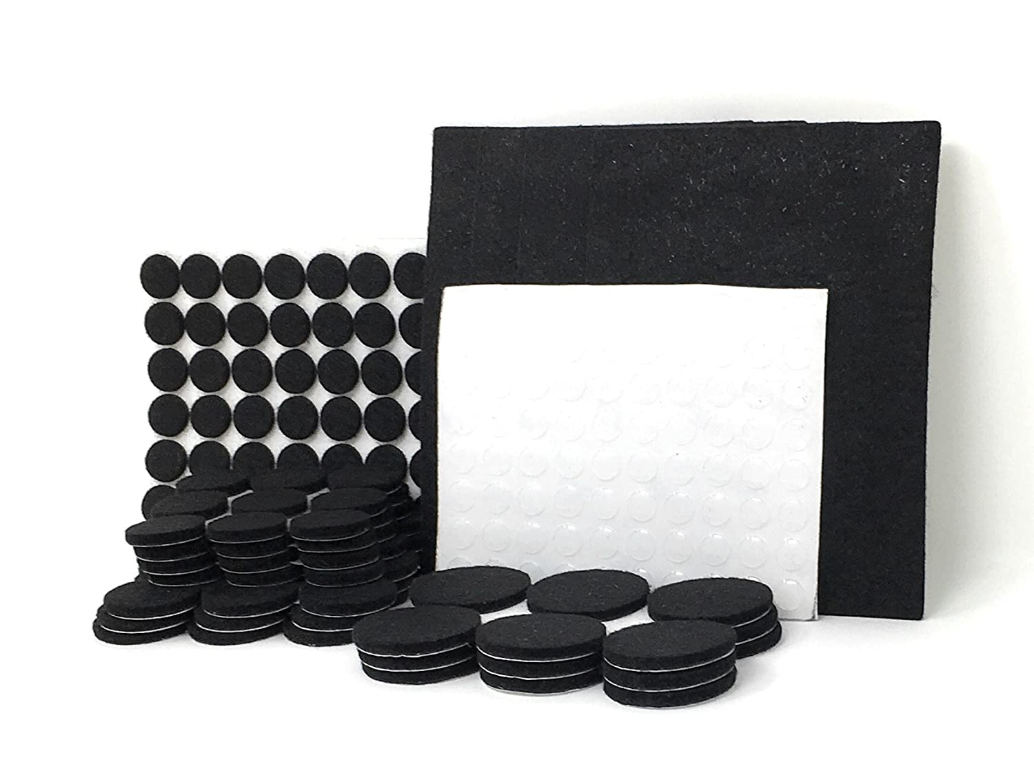 Felt Furniture Pads for Hard Surfaces, Premium Heavy Duty Self Adhesive Bundle Protect Hardwood Floors Laminate and Tile (207 Pieces) + Noise Dampening Clear Rubber Bumpers, Black