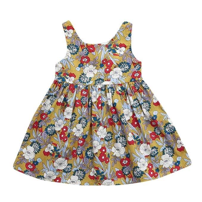 Beikoard Niña Vestido Liquidación, Vestidos y Faldas Niños Niñas Niños Floral Print Backless Vestido Princesa
