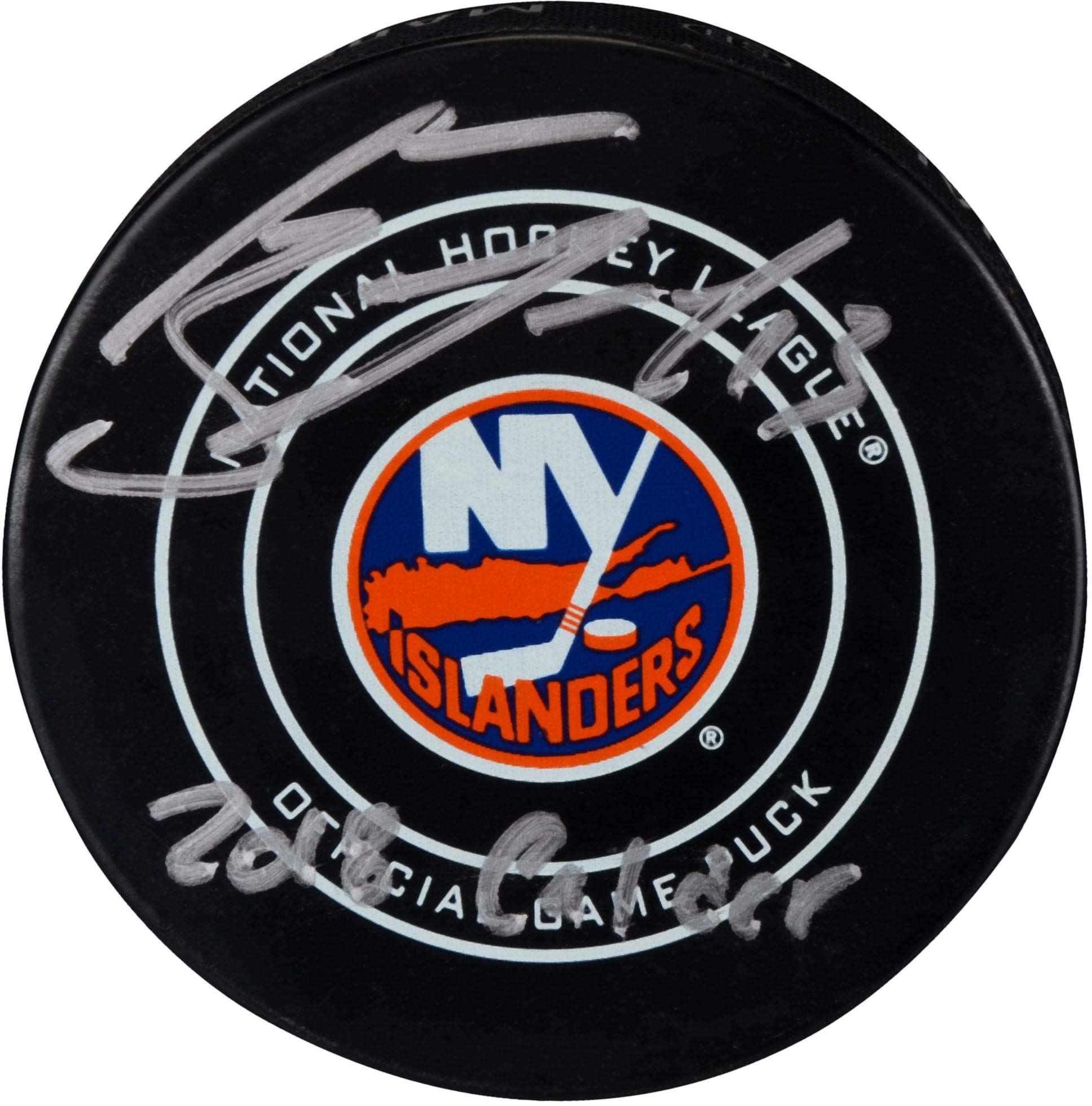 Mathew Barzal New York Islanders Autographed Official Game Puck with 2018 Calder Inscription Fanatics Authentic Certified
