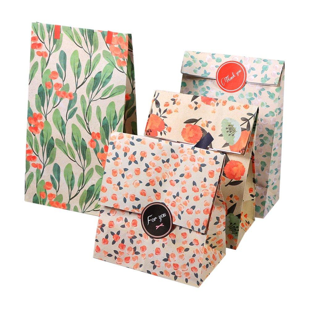 60 Pezzi Sacchetti Di Carta Con Motivi di Fiori Bustine Caramella Biscotti Gioielli Paper Bags Tasche Kraft Sacchetto Di Carta Regalo Borse Per Dolci Regalo In Carta Shopping Sacchetto