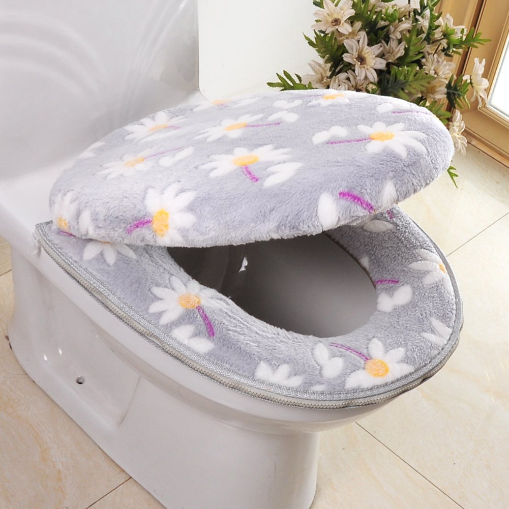 lililili Toilet cushion,Luxury toilet seat cover 2 Pack set (Lid cover & Tank cover) Bathroom super warm soft comfy -Dseat Cover machine washed Thicken