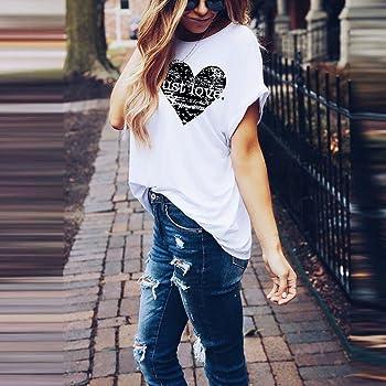 Camiseta Mujer algodón Tallas Grandes Verano Camisetas con Estampado De Corazones Top Blusa Suelta Casuales Camisa O-Cuello Moda Cami Chaleco Tops para Mujeres riou: Amazon.es: Ropa y accesorios