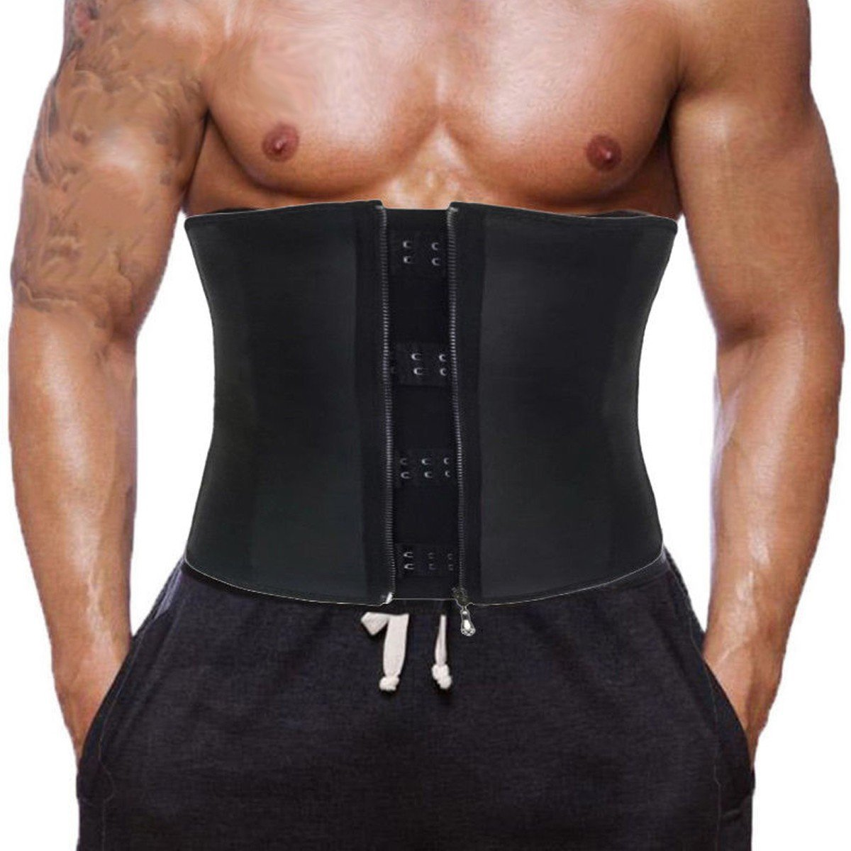 CROSS1946 Men's Waist Trainer Corsets with Steel Bones Underbust Sweat Sauna Suits Fitness Gym for Weight Loss