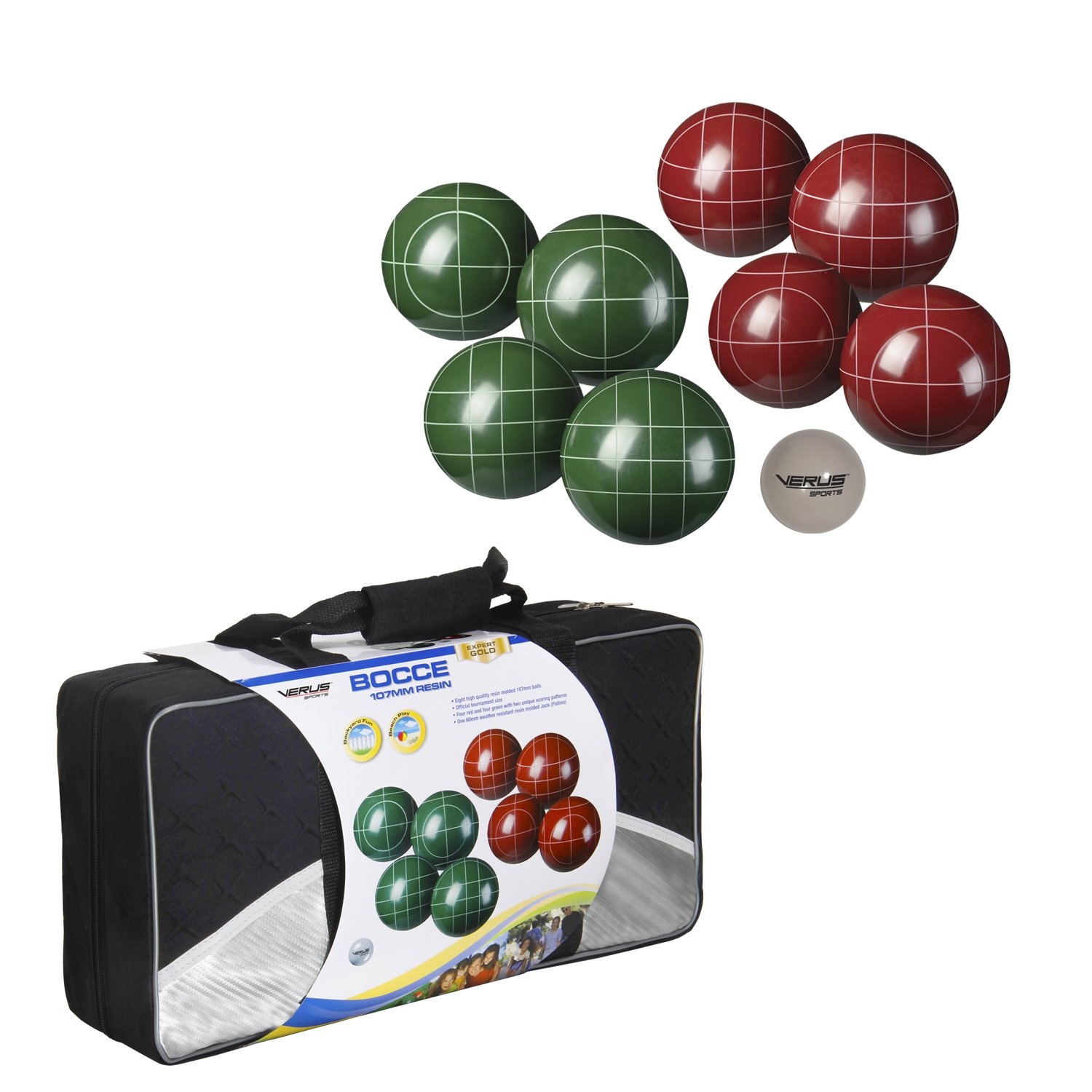 Verus Sports Expert Bocce Ball Set with Easy Carry Nylon Case (9-Piece), 107mm by Verus Sports (Image #1)