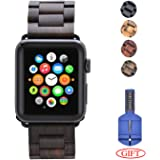 Handcrafted Wooden Apple Watch Bands Replacement 42mm for Men - Black Sandalwood Wrist Strap Bracelet for Large iWatch Series 3/2/1 - Adjustment Tool as a Gift by Kanteband