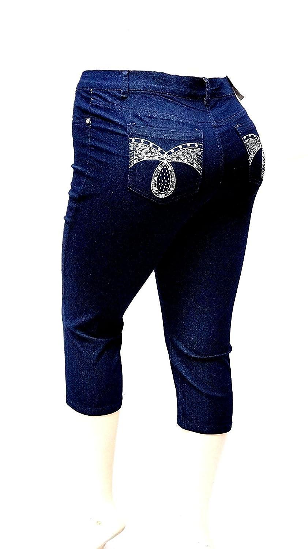 1826 Women's PLUS SIZE Stretch MID RISE Denim JEANS CAPRI BLUE & BLACK PC-2688