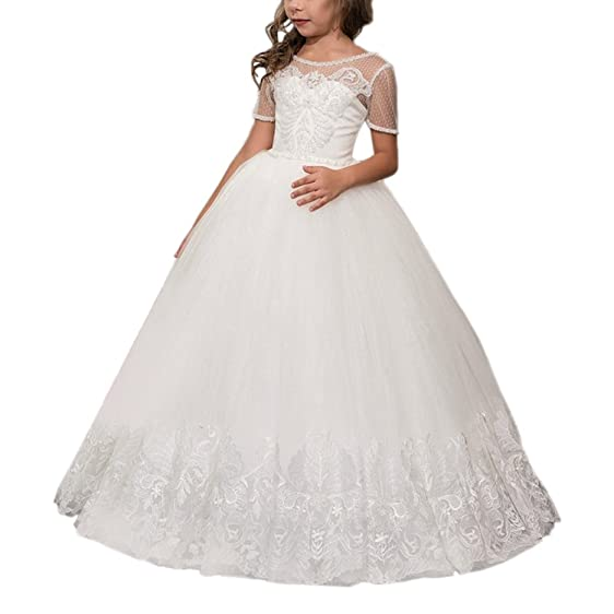 Lampang Lace Prom Dresses Girls Ball Gown Graduation Gowns Children Size2