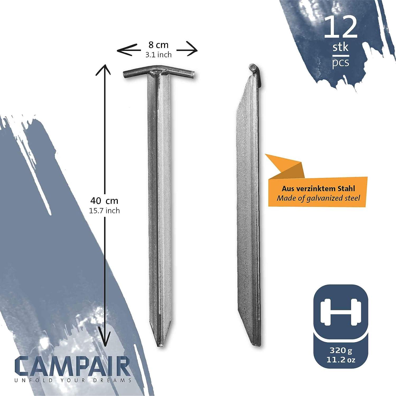 Extra Largo CampAir Piquetas para Tienda de campa/ña 40cm Perfil de T Acero galvanizado