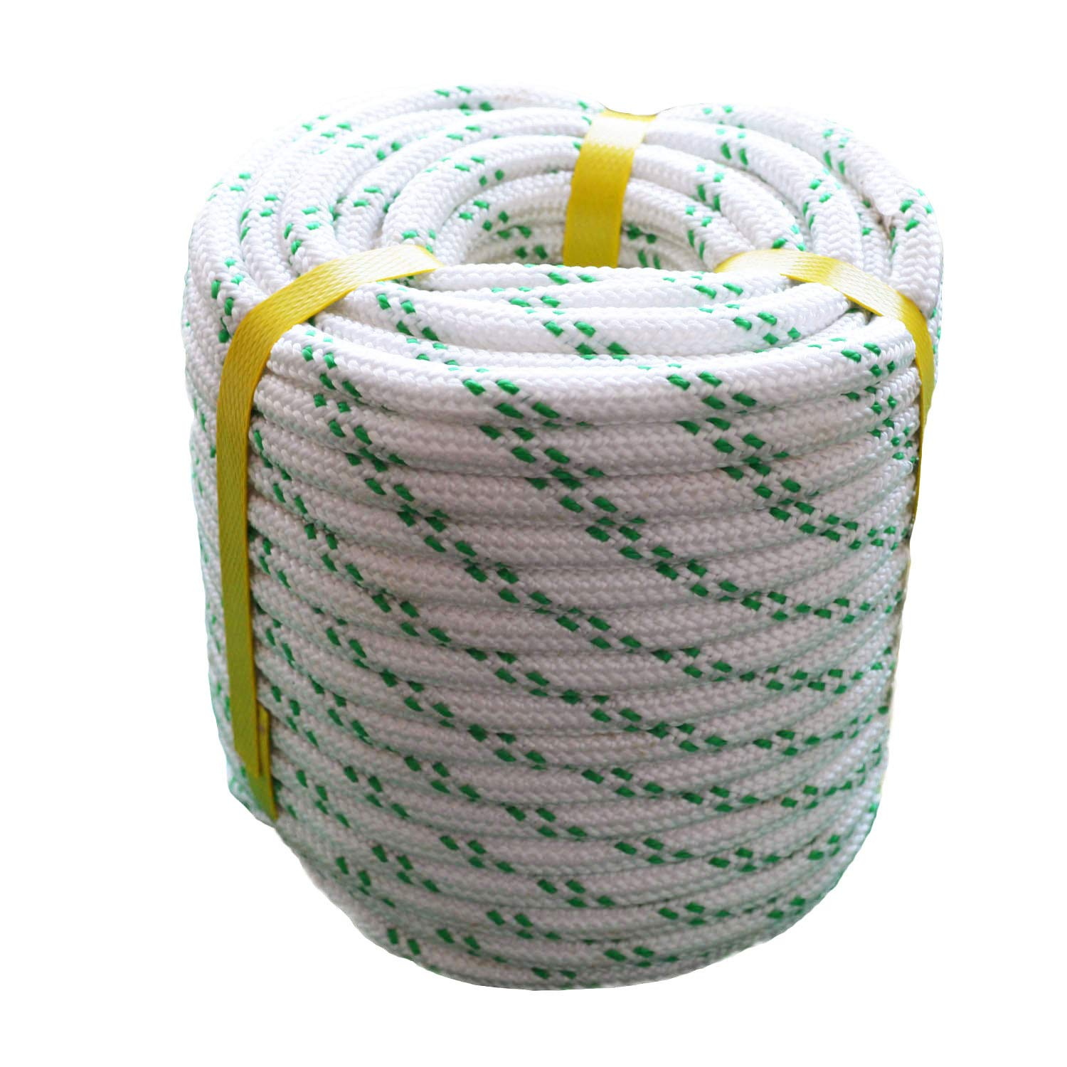 3//8 X 100 Strong Pulling Rope for Sailing Climbing Rope YuzeNet Braided Polyester Arborist Rigging Rope White with Green Tracers