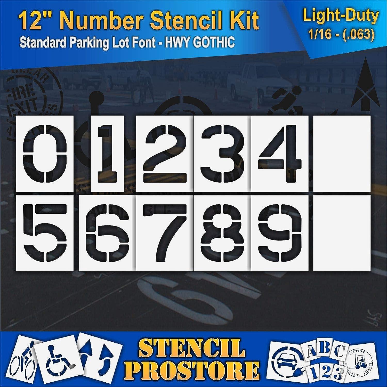 - 12 x 9 x 1//8 12 Piece 12 inch Number KIT Stencil Set - Pavement Stencils 128 mil - Pro-Grade