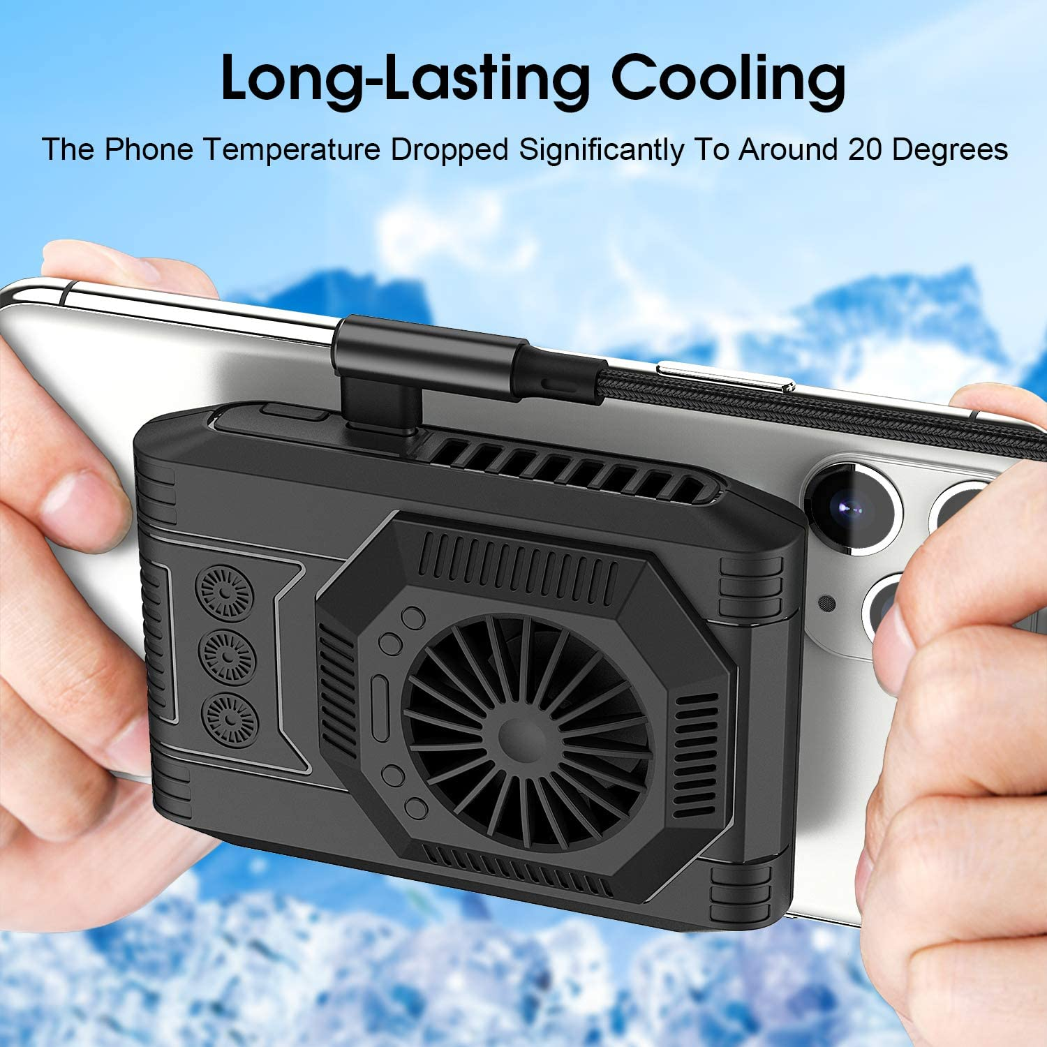 Hinax Phone Silent Cooler, Upgraded Tech Semiconductor Radiator, Cooling 20 in 1min, for PUBG or Fotnite, for Phone 11 Pro Xs Max XR X 8 7 6 6s Samsung Galaxy S10 S9 S8 Plus