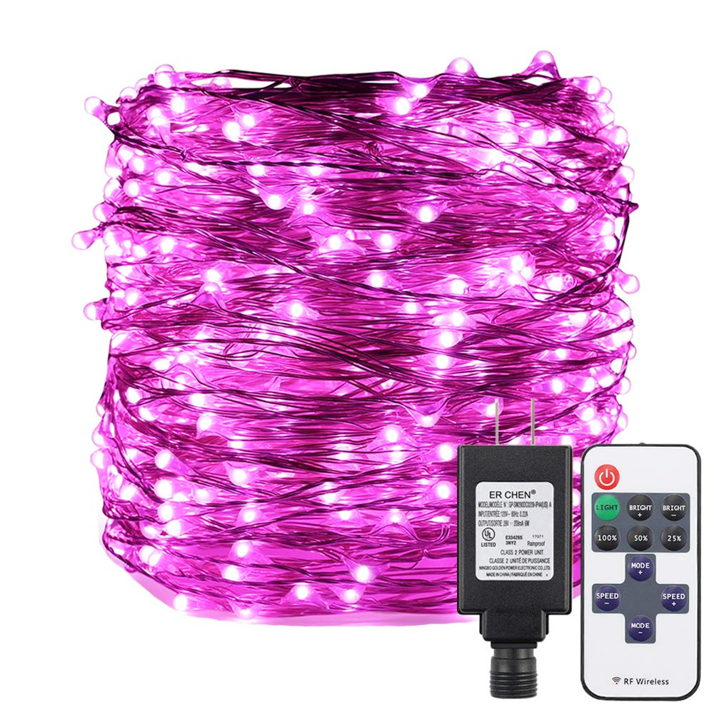 ER CHEN Pink LED String Lights Plug in, 165ft 500 LED Supper-Long Fairy Lights Dimmable with RF Remote, Silver Coated Copper Wire Indoor/Outdoor Decorative Lights for Bedroom, Patio, Garden, Yard