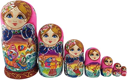 Beautiful Color Cute Little Girl Fairy Tale Handmade Wooden Russian Nesting