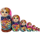 Beautiful Color Cute Little Girl Fairy Tale Handmade Wooden Russian Nesting Dolls Matryoshka Dolls Set 7 Pieces For Kid Toy Birthday Christmas Gift Home Decoration
