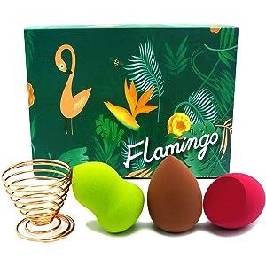 LOVCHU 4PCS Flamingo Gift Set Professional Makeup Sponge Blender kit - Beauty Foundation Blending Sponge with Golden Drying Holder - Perfect for your Mom & Daughter & Wife & Girlfriend & Sister
