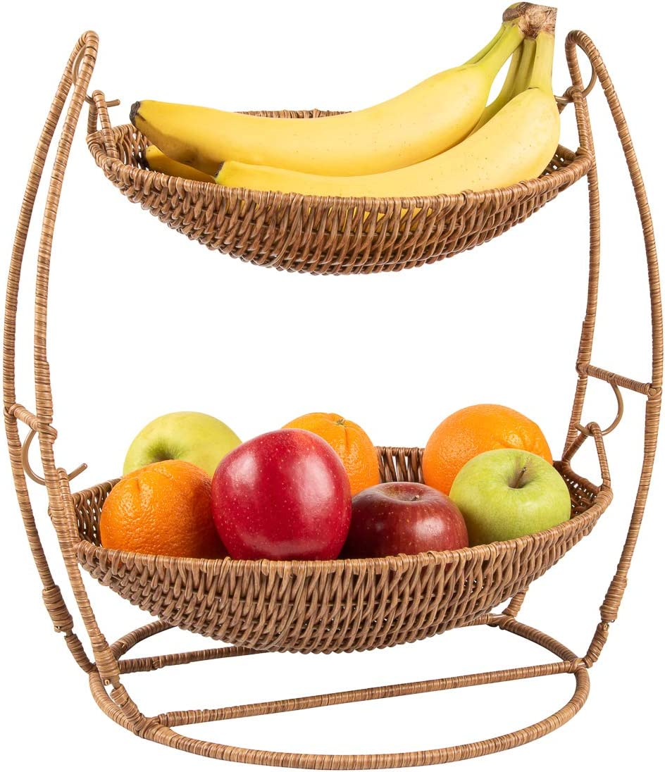 2-Tier Woven Wicker Fruit Basket Stand | Synthetic Wicker Fruit Bowl for Kitchen Counter | Rustic Farmhouse Kitchen Counter Decor | Storage Bowls | Fruits and Vegetable Organizer