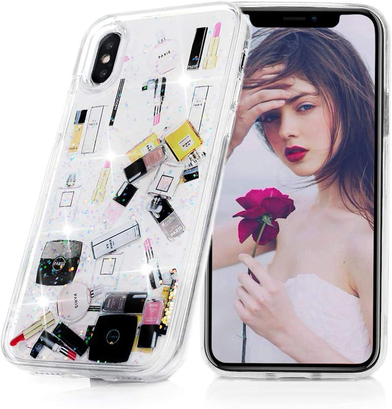 G.J.FACASE iPhone XR Glitter Case, Liquid Floating, Cosmetic Makeup Lipstick Perfume Patterned,Soft TPU Bumper Frame PC Shell, Quicksand Bling Case for Girls (Silver,iPhone XR 6.1inch)