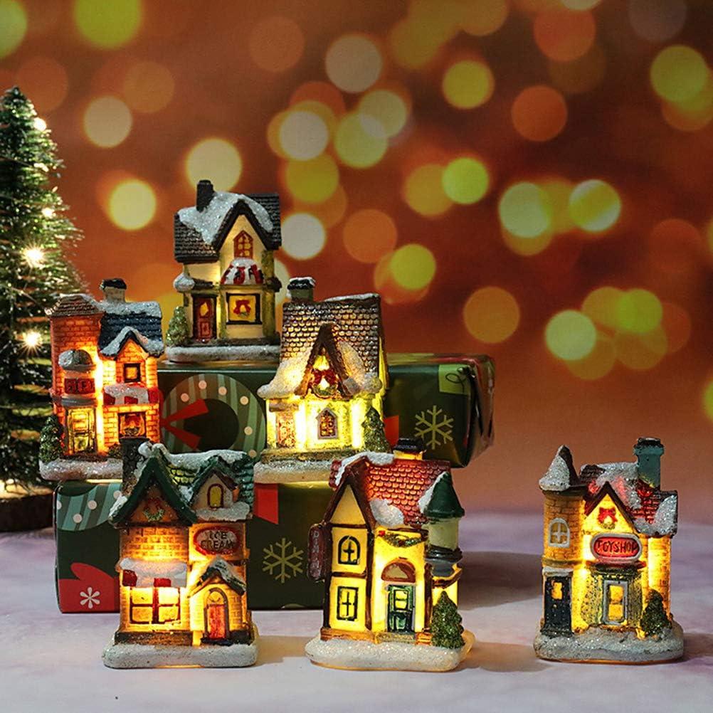 House Ornament for Home Office Shop Resin Christmas Scene Village Houses,LED Christmas Resin Light House Christmas Decorations Resin Christmas Scene Village House Town