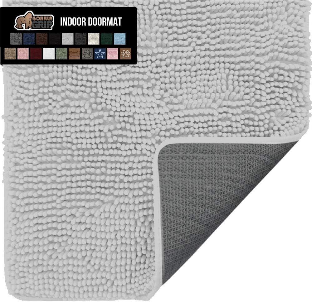 Gorilla Grip Original Indoor Durable Chenille Doormat, 24x17, Absorbent Washable Inside Mats, Low-Profile Rug Doormats for Entry, Mud Room Mat, Back Door, High Traffic Areas, Light Gray