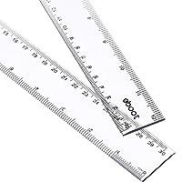 2 Pack Plastic Ruler Straight Ruler Plastic Measuring Tool for Student School Office...