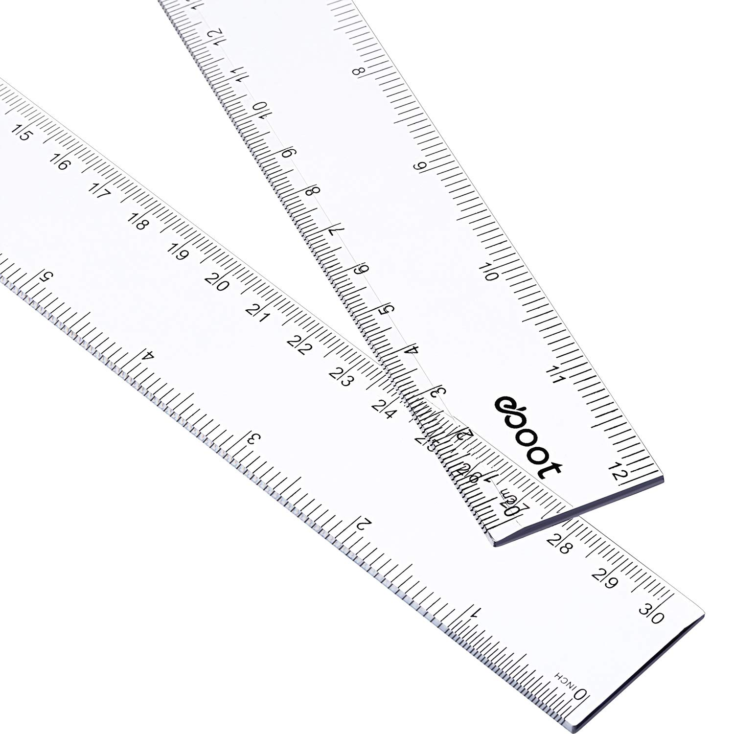 eBoot 2 Pack 12 Inches Clear Plastic Ruler Straight Ruler Plastic Measuring Tool for Student School Office