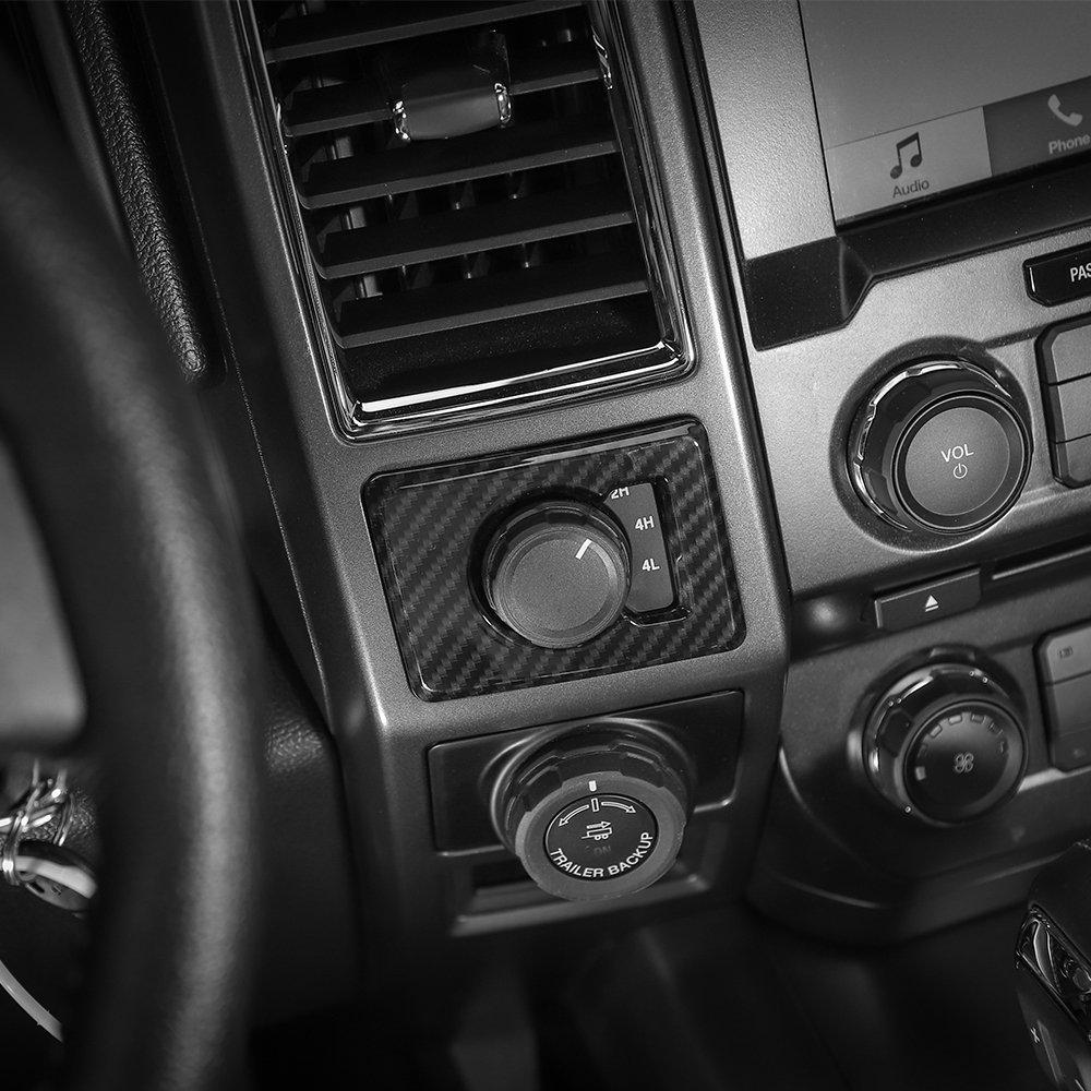 Voodonala Carbon Fiber Grain Gear Shifter Head Deacorative Trim for Ford F150 2015 2016 2017